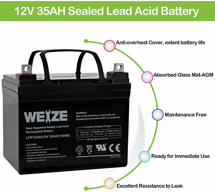Weize 12V 35 AH Rechargeable Battery