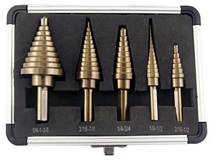 CO-Z 5pcs Hss Cobalt Multiple Hole 50 Sizes Step Drill Bit Set