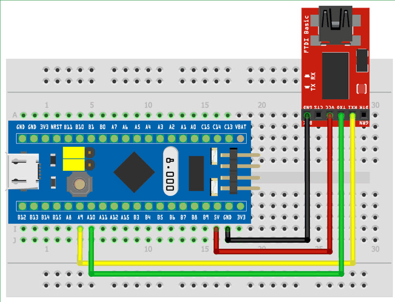 Connections for Programming STM32