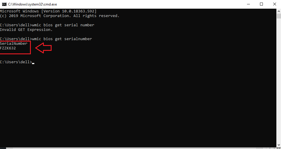 model numbet command promt
