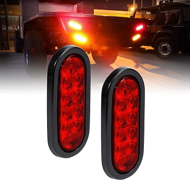 Red Oval LED Trailer Tail Light