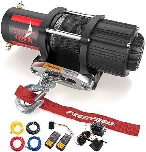 FIERYRED 4500lbs Electric Synthetic Rope Winch