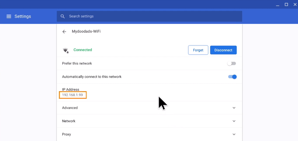 How to get your router IP address on Chrome OS