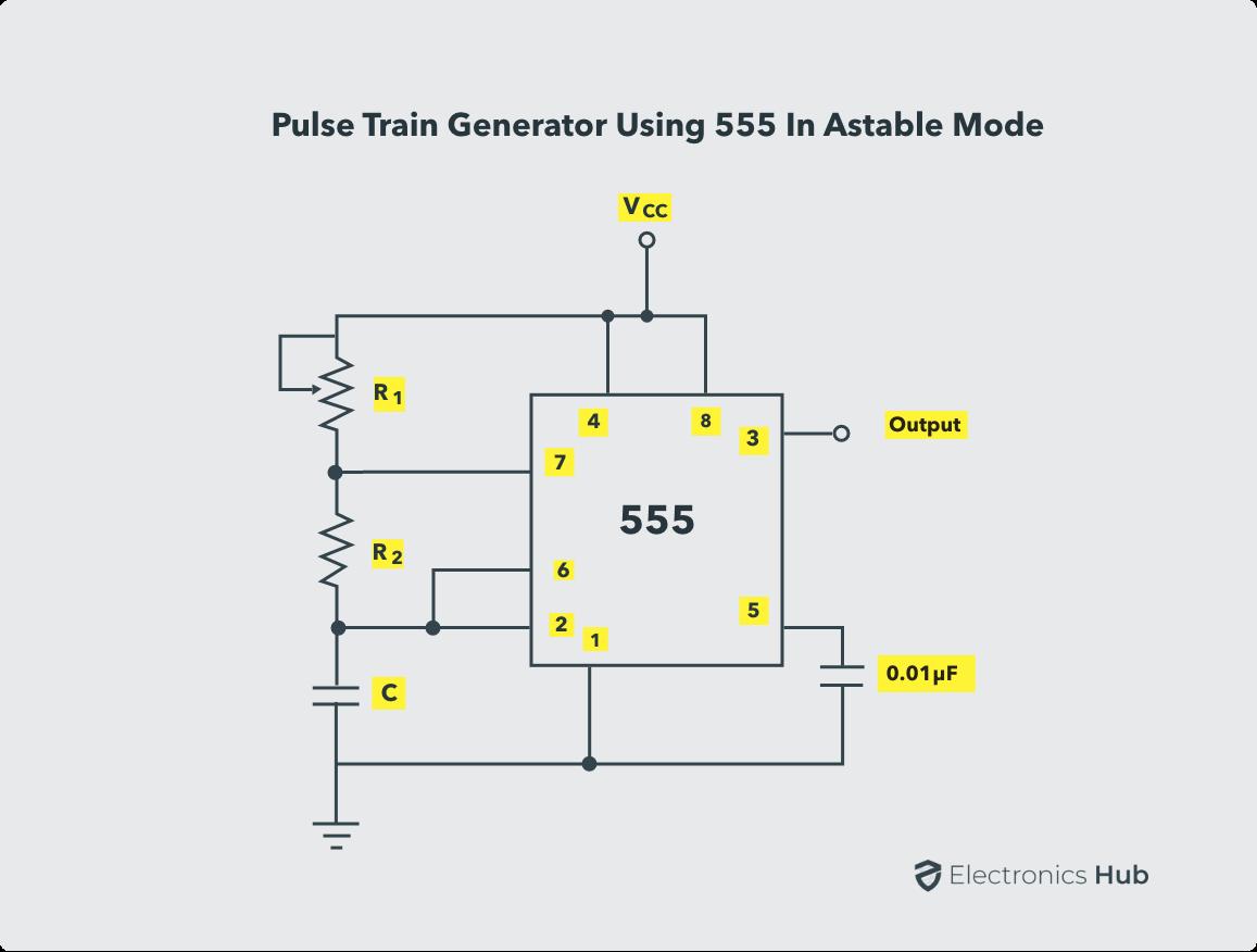Pulse Train Generator using 555