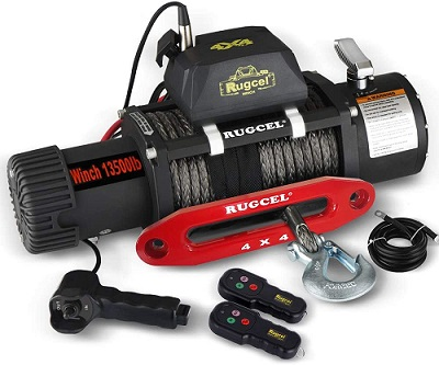 RUGCEL 13500 lbs Synthetic Rope Winch