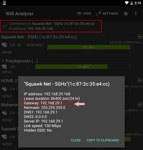 Wi-Fi Analyzer IP address