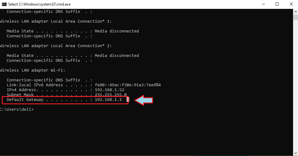 Find Router IP Address with Command Prompt