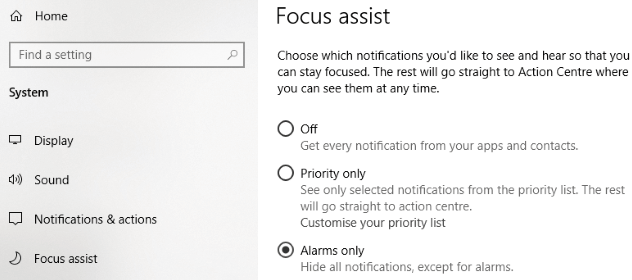 Disable Notifications in Windows 10