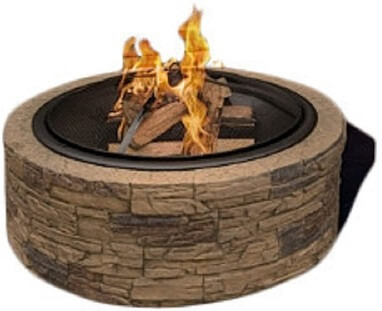 SJ Cast Stone Wood Burning Outdoor Fire Pit