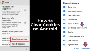 how to clear cookies on android