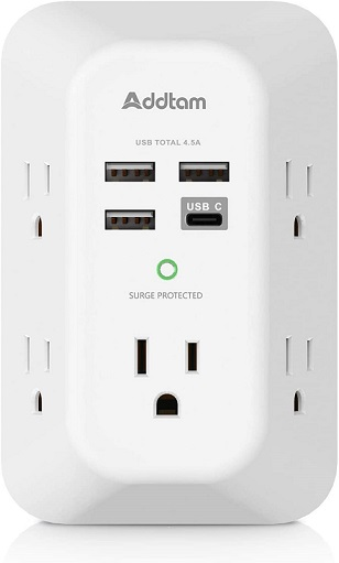 Addtam USB Wall Charger Surge Protector