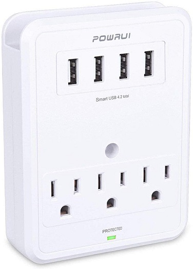 POWRUI Multi Wall Outlet Adapter Surge Protector