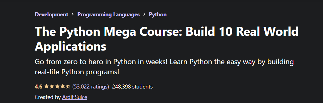 The Python Mega Course Build 10 Real World Applications